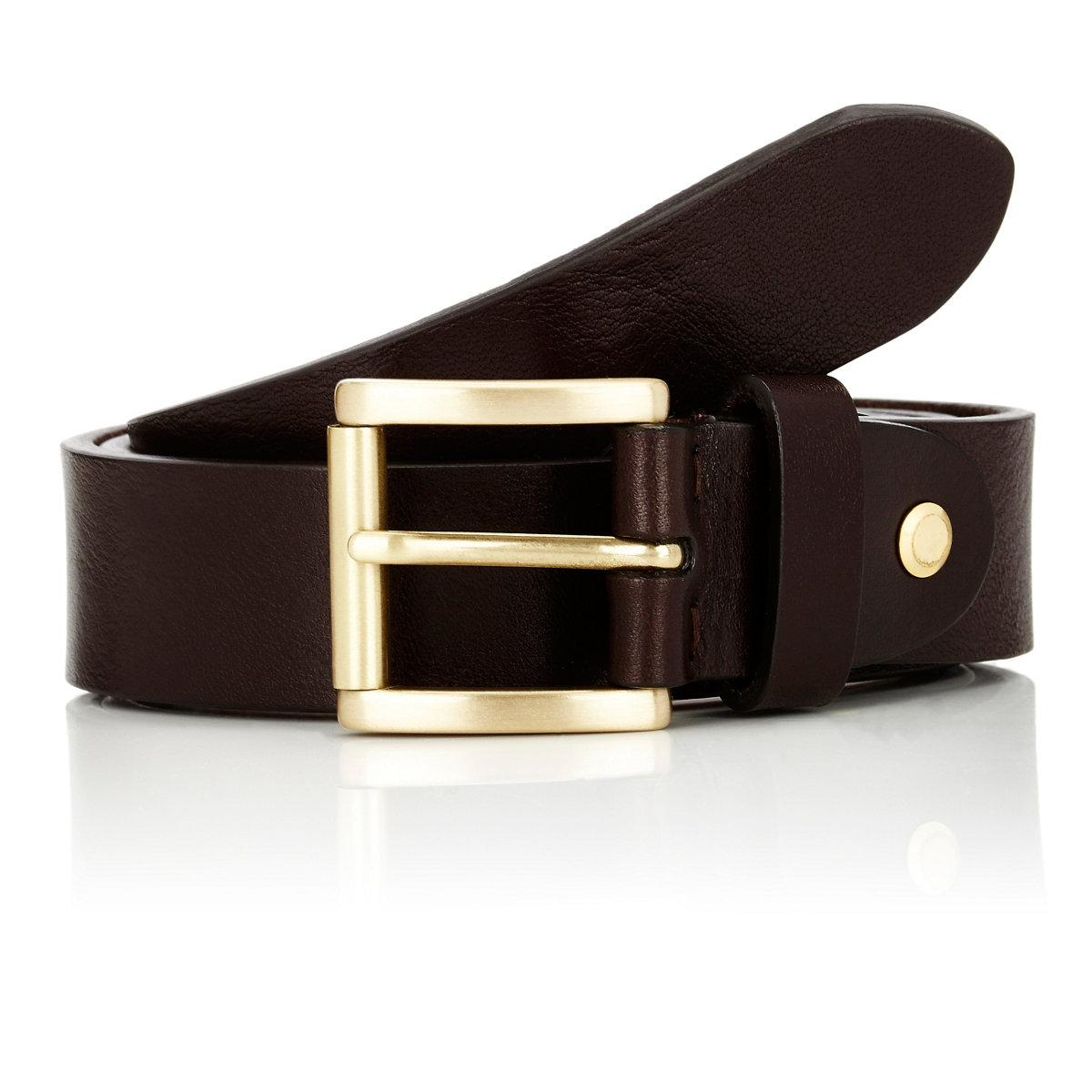 barneys new york textured leather belt in brown for lyst