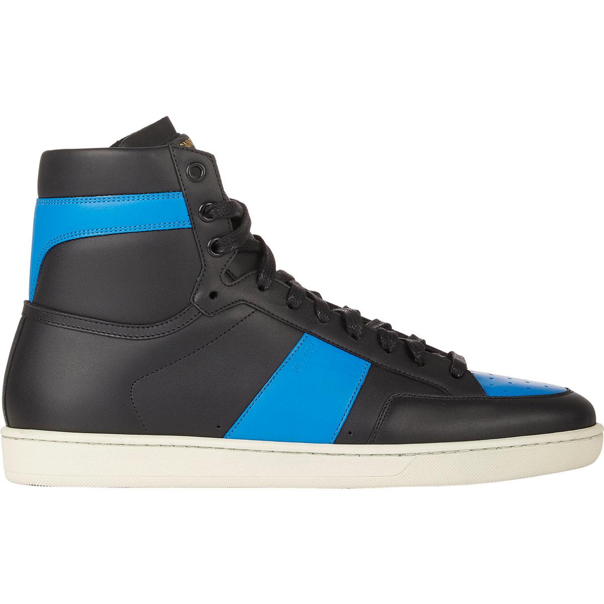 saint laurent leather high top sneaker in blue for men lyst. Black Bedroom Furniture Sets. Home Design Ideas