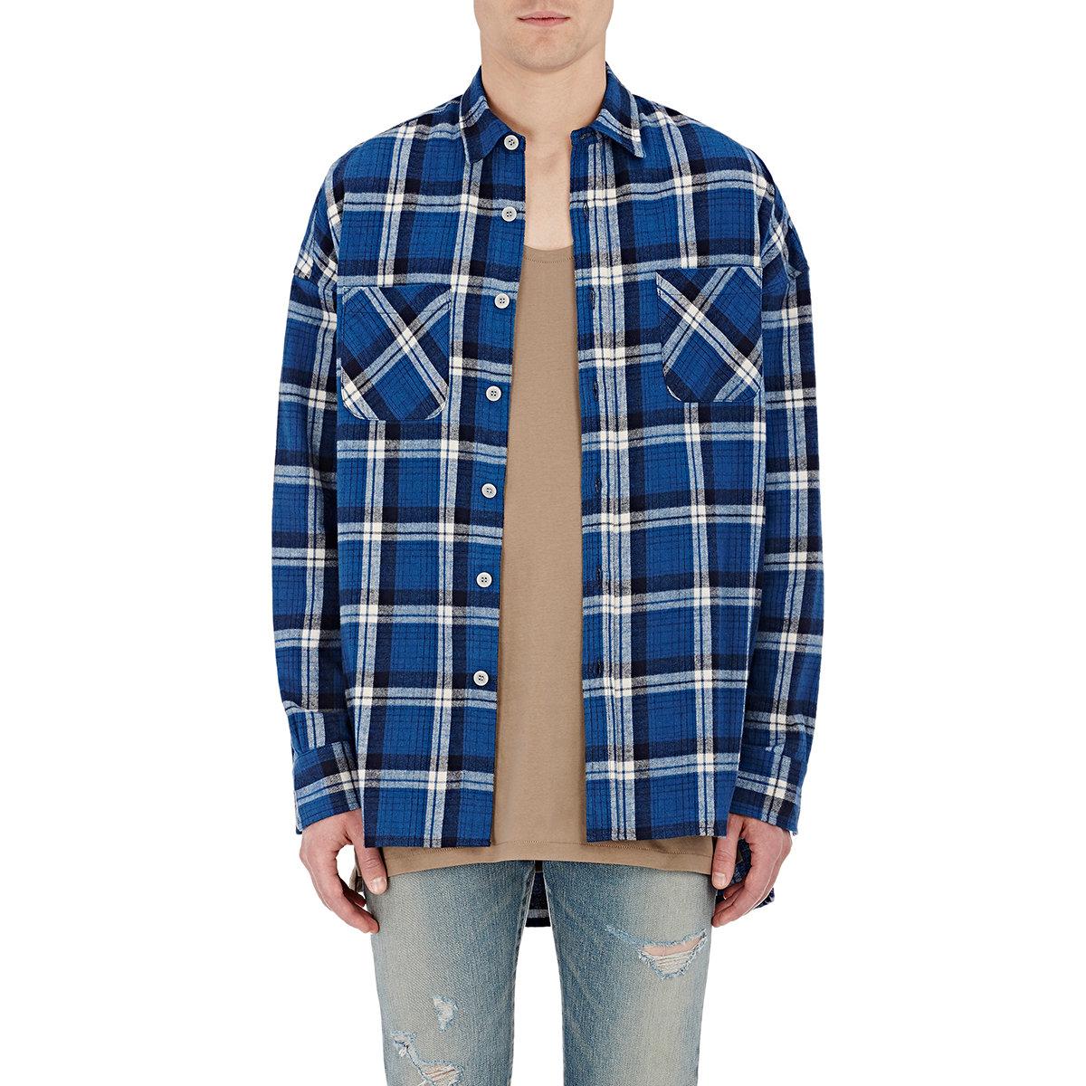Fear Of God Plaid Flannel Shirt In Blue Lyst