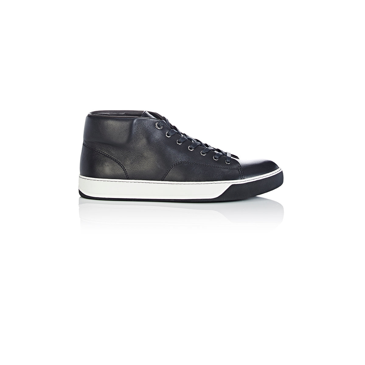 lanvin s mid top sneakers in white for black lyst