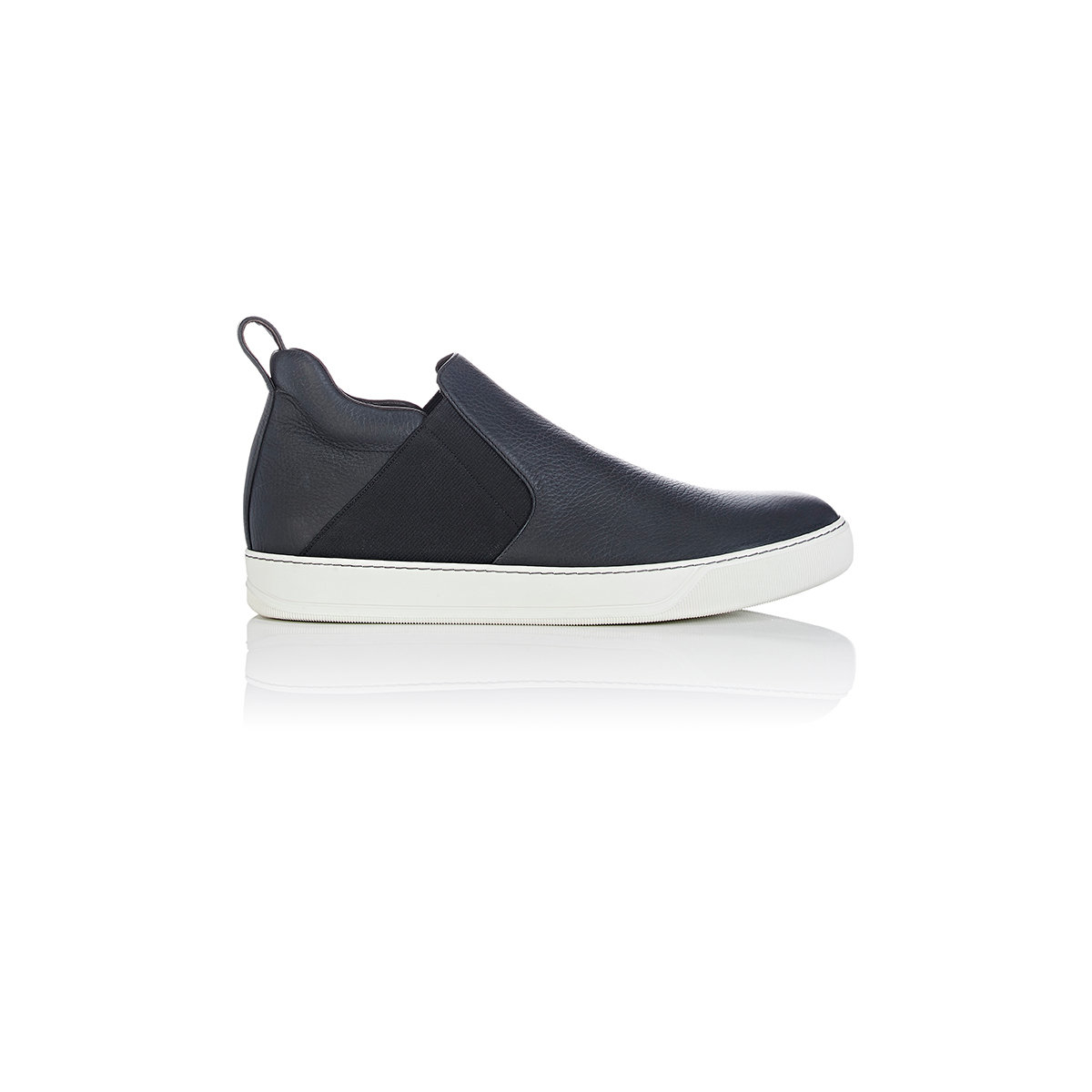 lanvin slip on mid top sneakers in black for lyst