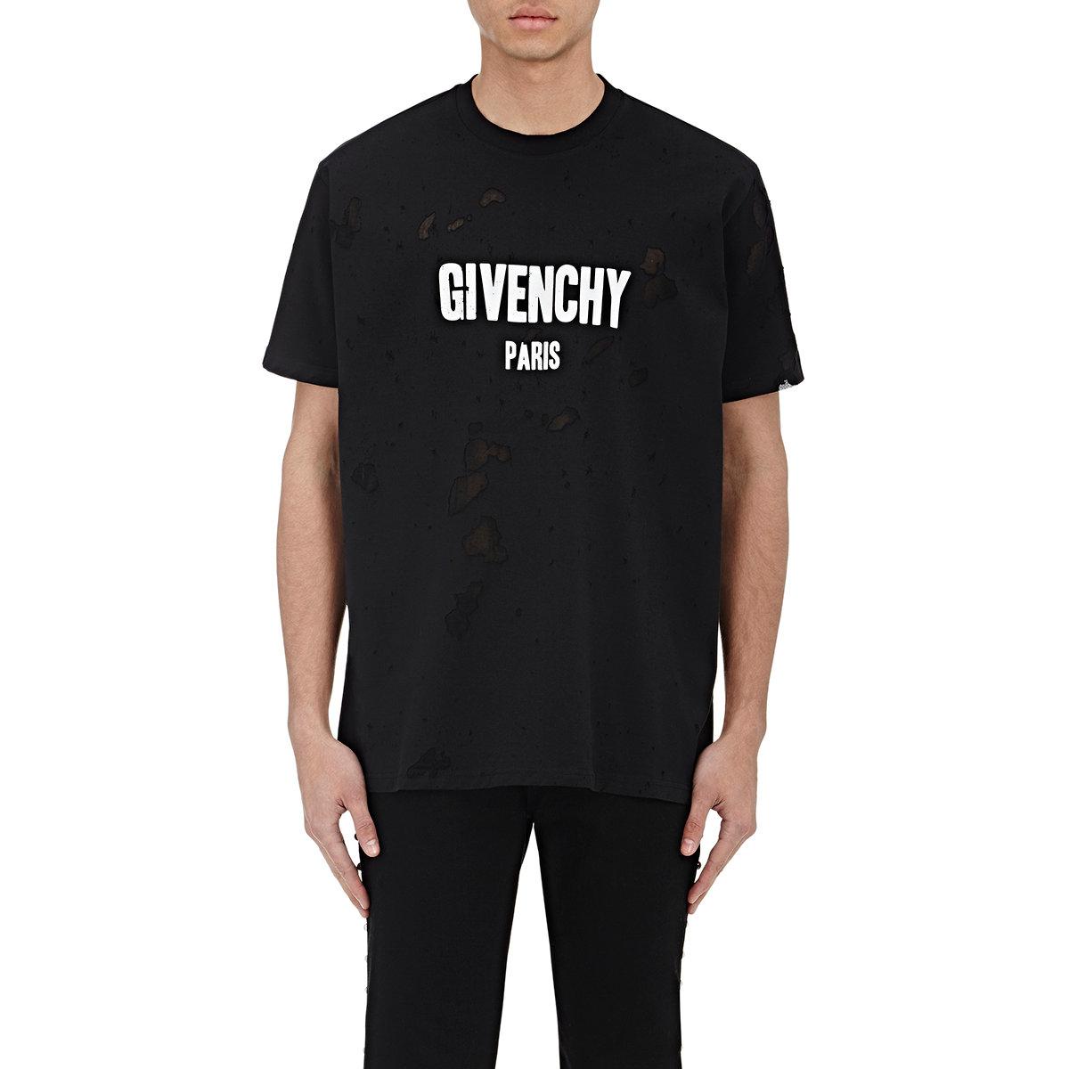 8fe60c5c Givenchy Destroyed Logo T in Black for Men - Lyst