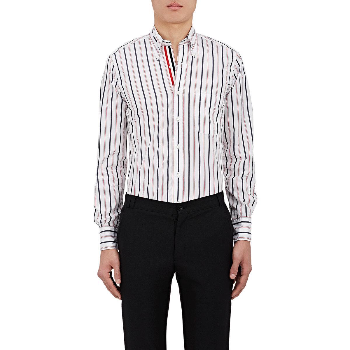 Thom browne striped broadcloth shirt in white for men lyst for Thom browne white shirt