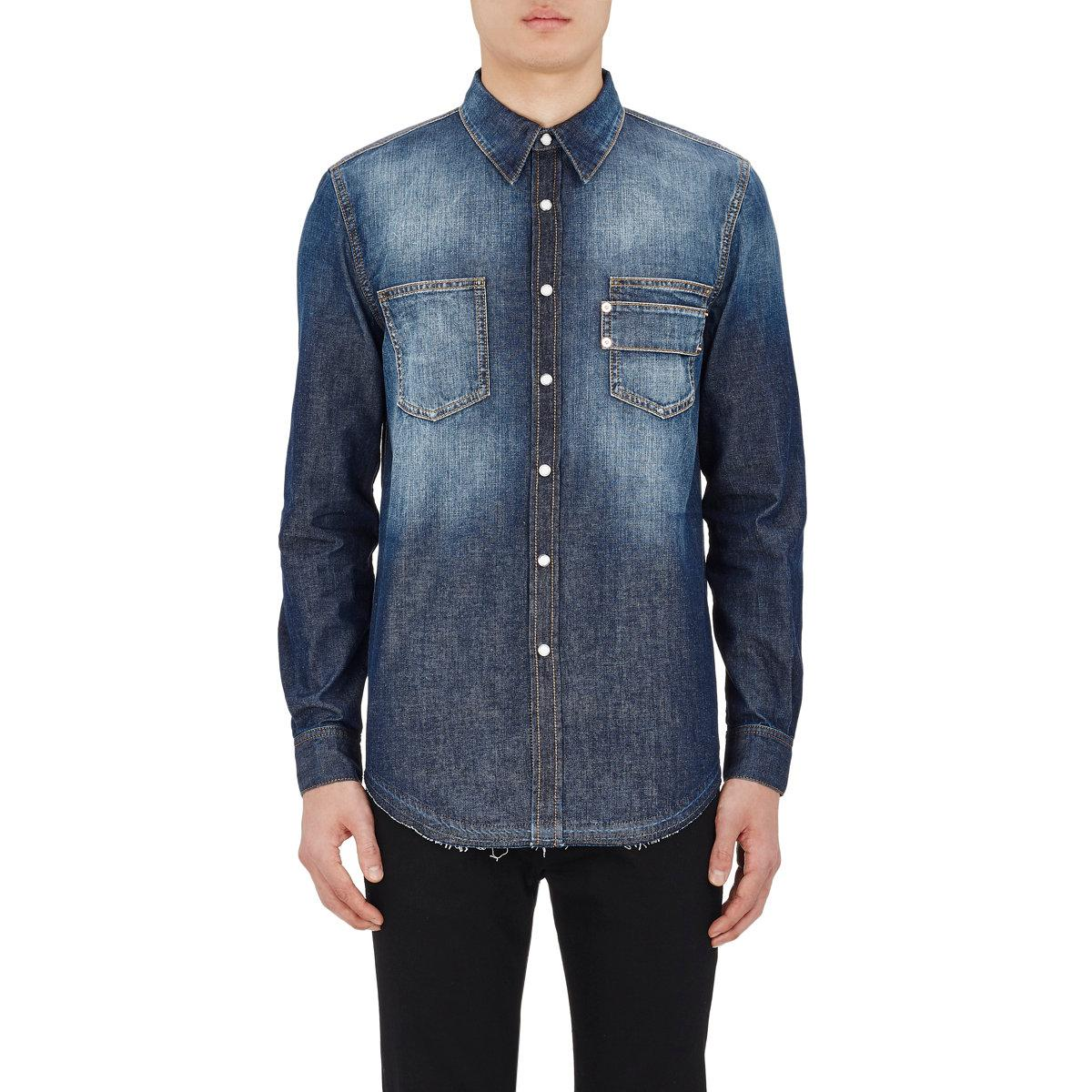 Lyst givenchy cotton denim work shirt in blue for men for Mens denim work shirt