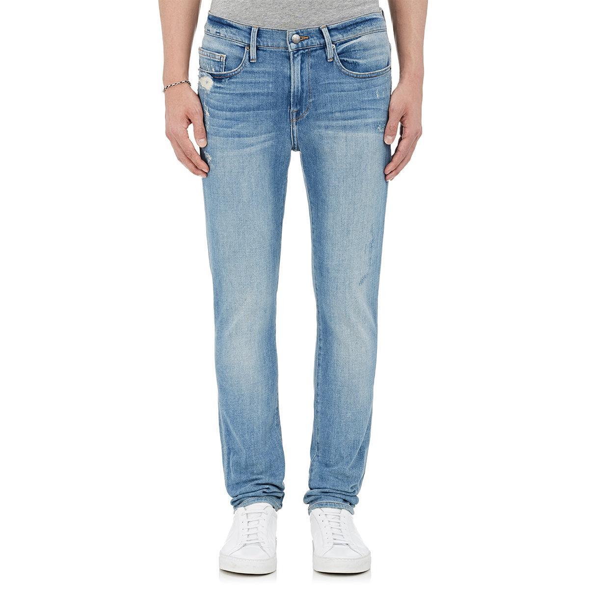 frame l 39 homme skinny jeans in blue for men lyst. Black Bedroom Furniture Sets. Home Design Ideas