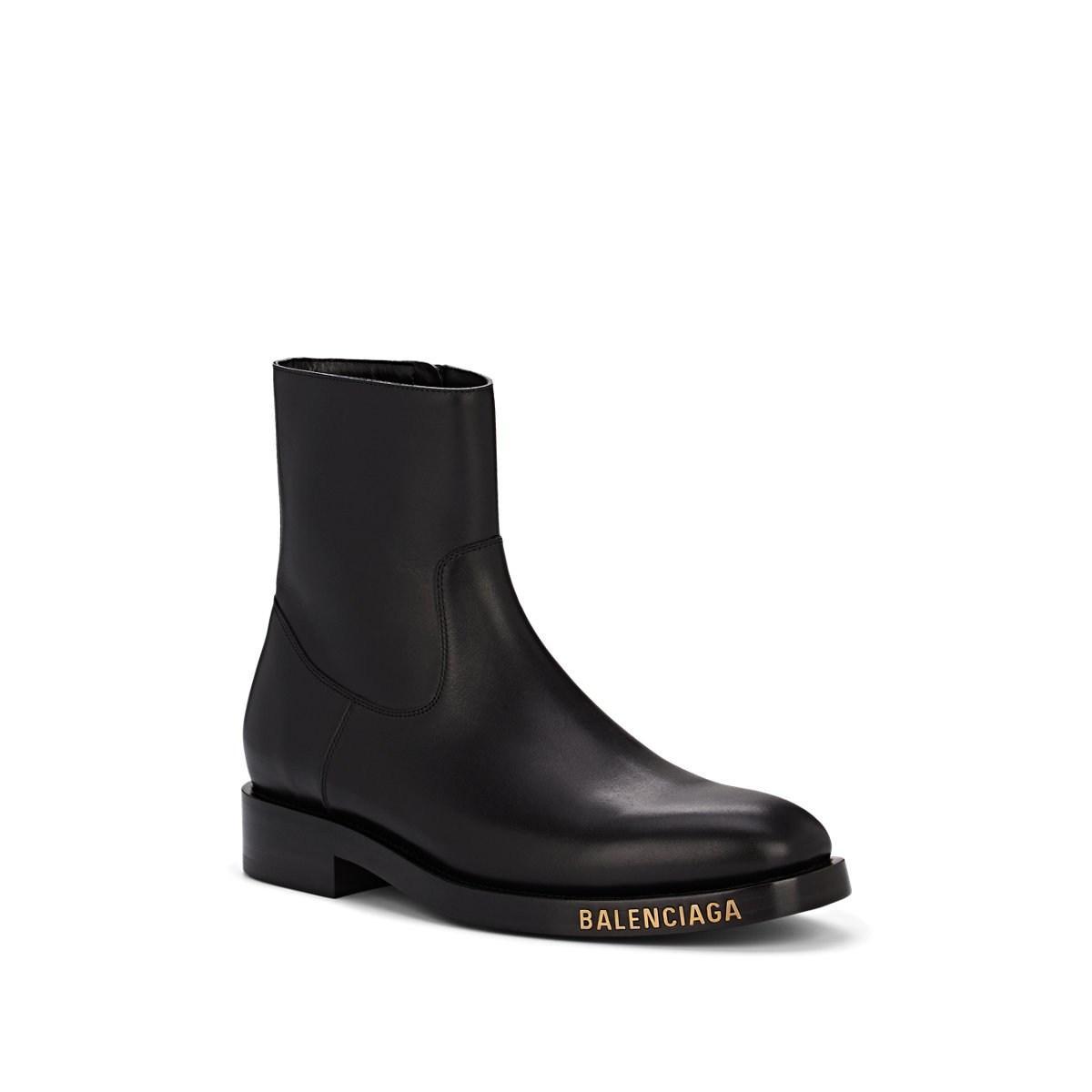 71ce9457e4fa3 Balenciaga - Black Logo Leather Boots for Men - Lyst. View fullscreen