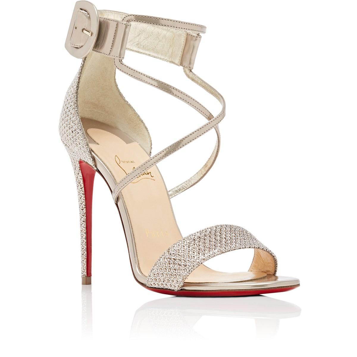 97fc5c434e51a Christian Louboutin Choca Specchio Leather   Mesh Sandals in ...