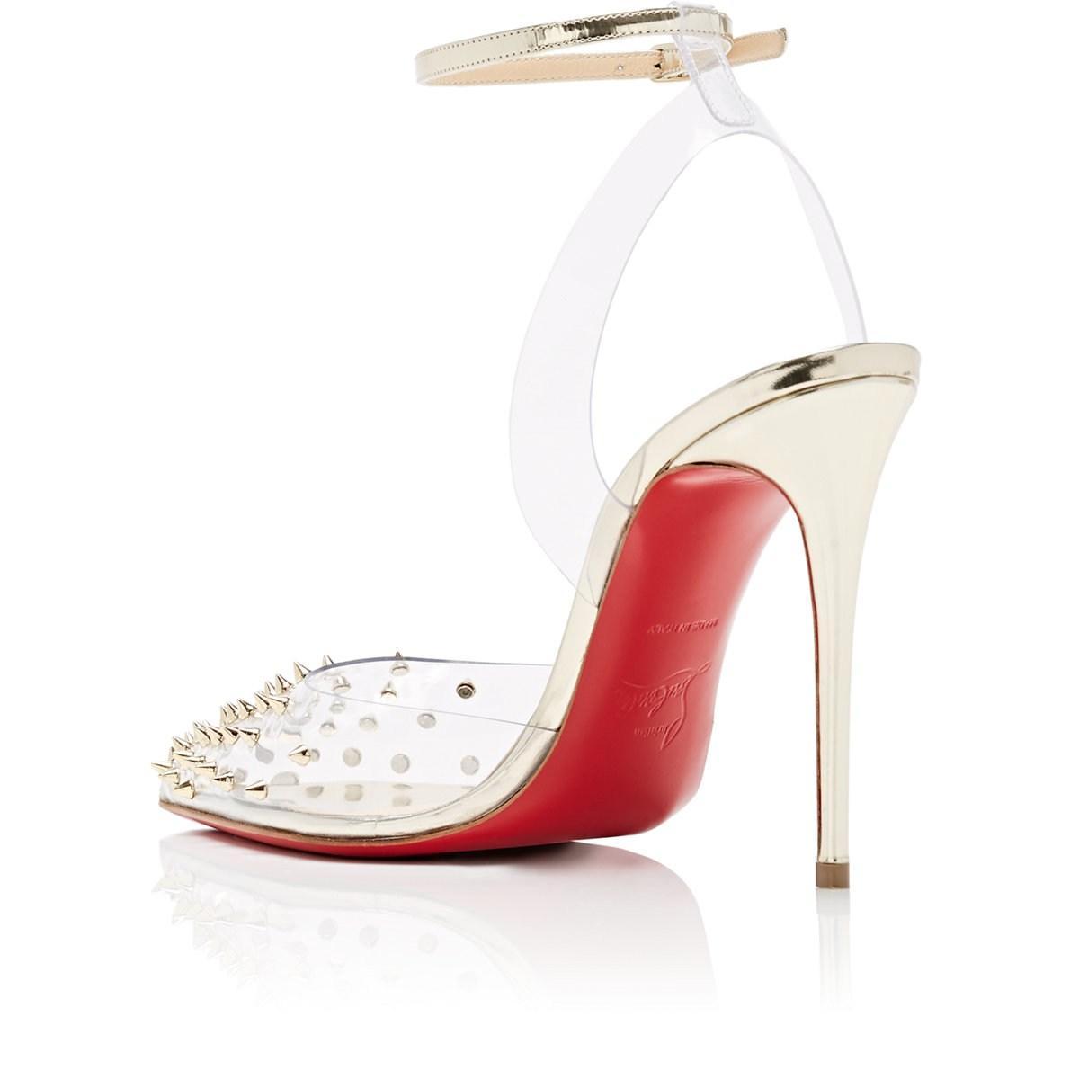 755b3d45e6b Christian Louboutin - White Spikoo Pvc   Leather Sandals - Lyst. View  fullscreen
