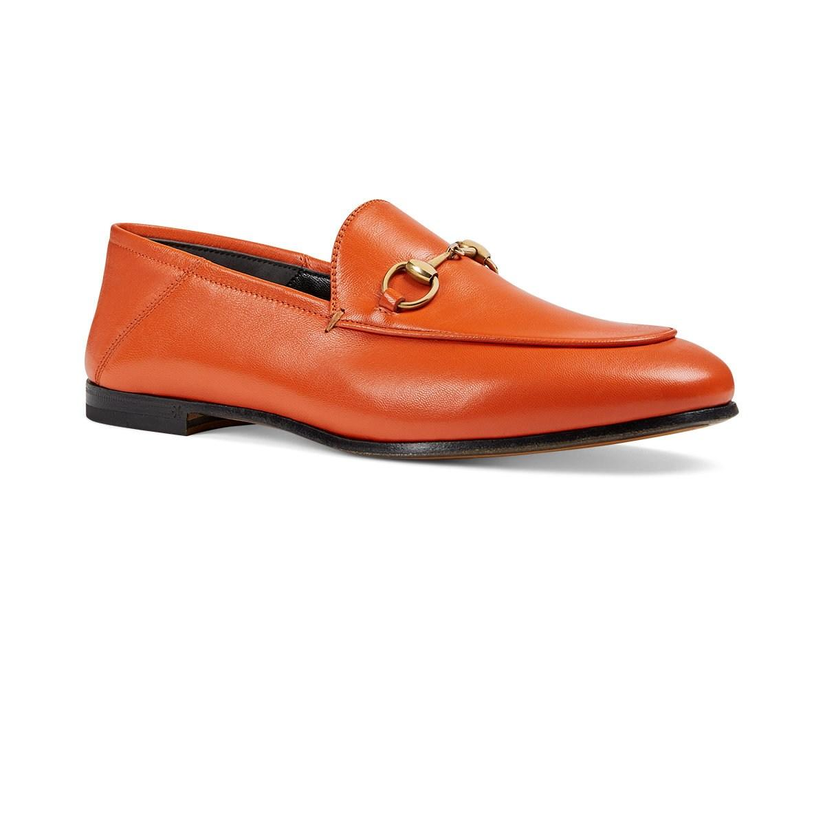 0ac140a1c56 Gucci - Orange Brixton Leather Loafers - Lyst. View fullscreen