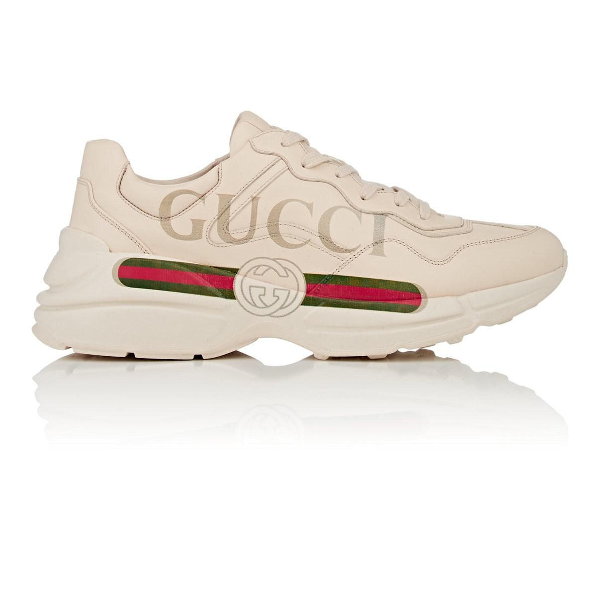 b5e221e7293 Gucci Rhyton Leather Sneakers in White for Men - Lyst