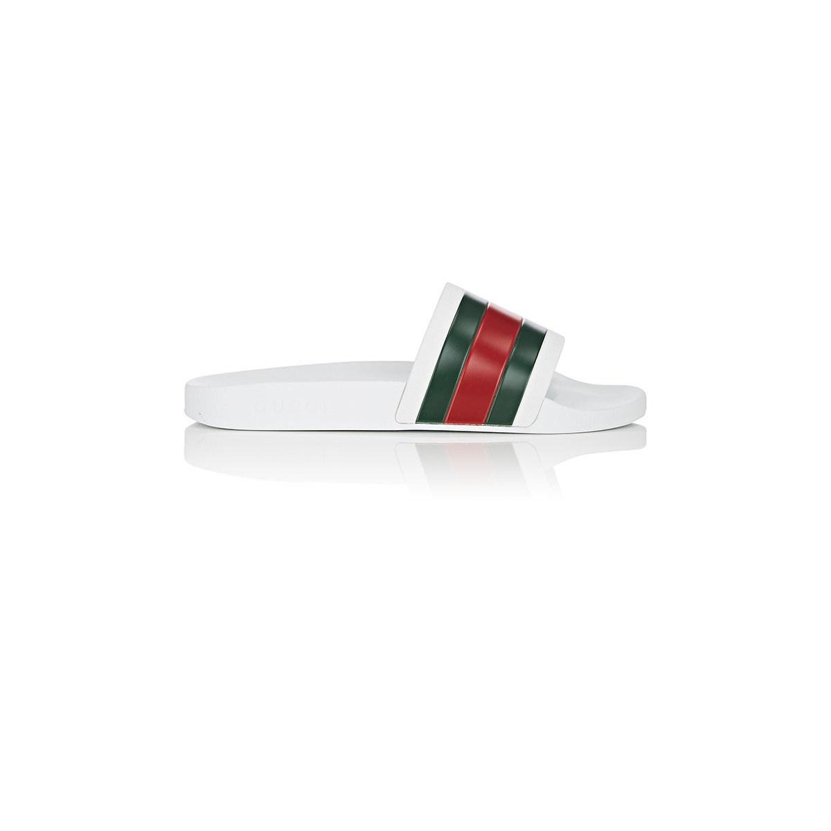 642f0a786a3 Gucci Pursuit  72 Rubber Slide Sandals in White for Men - Save 38 ...