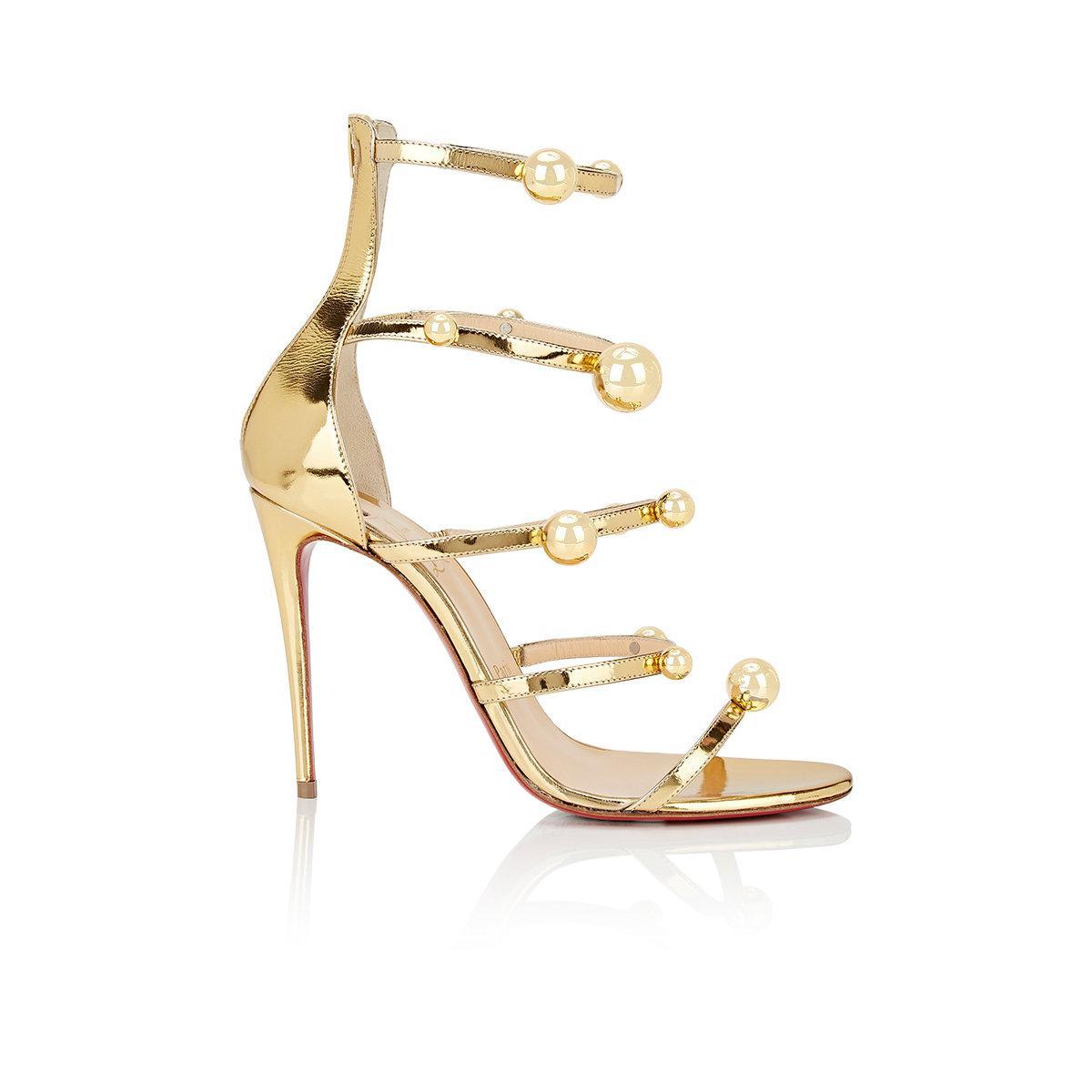 09577dc8492f Christian Louboutin Atonana Specchio Leather Sandals in Metallic - Lyst