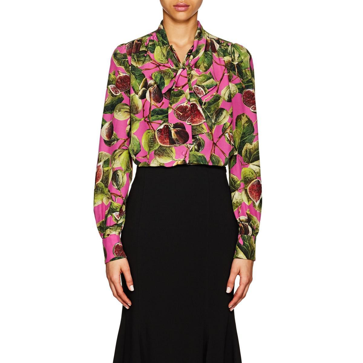 afe9a6b2157248 ... cheap dolce gabbana. womens pink fig print silk tieneck blouse ad908  8ddab ...