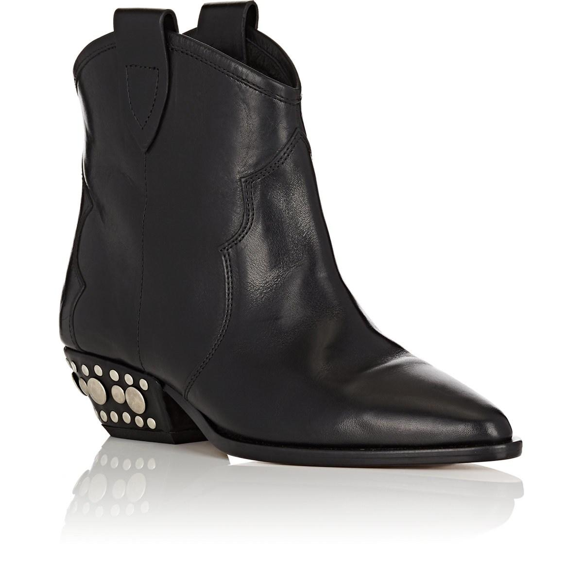 85759e1919b Isabel Marant Dawyna Leather Ankle Boots in Black - Lyst