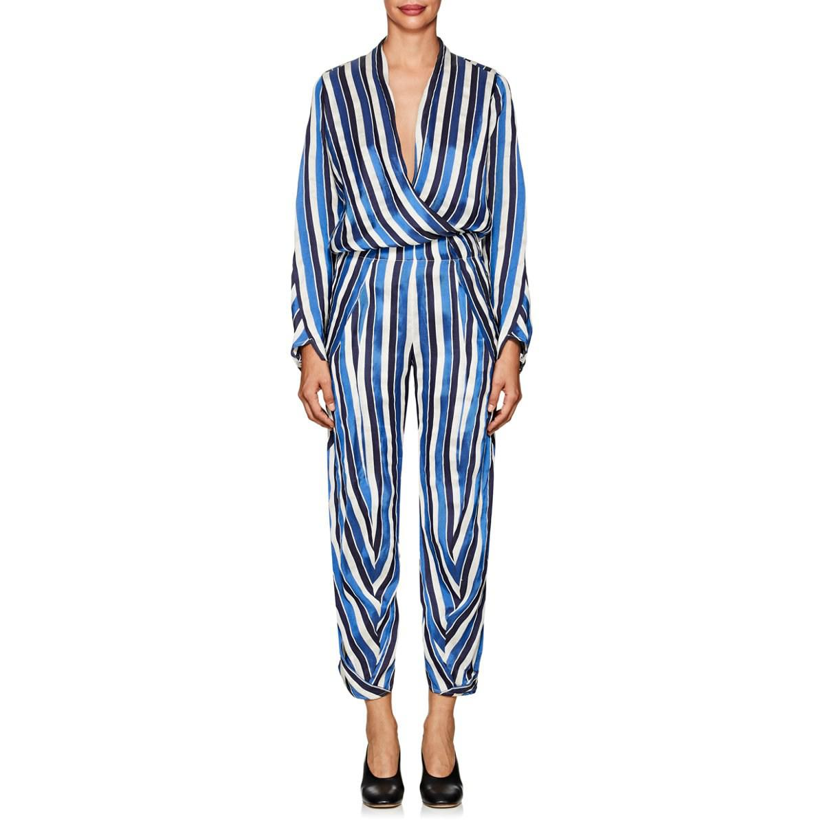 47705924081 Lyst - Zero + Maria Cornejo Takeo Striped Twill Jumpsuit in Blue