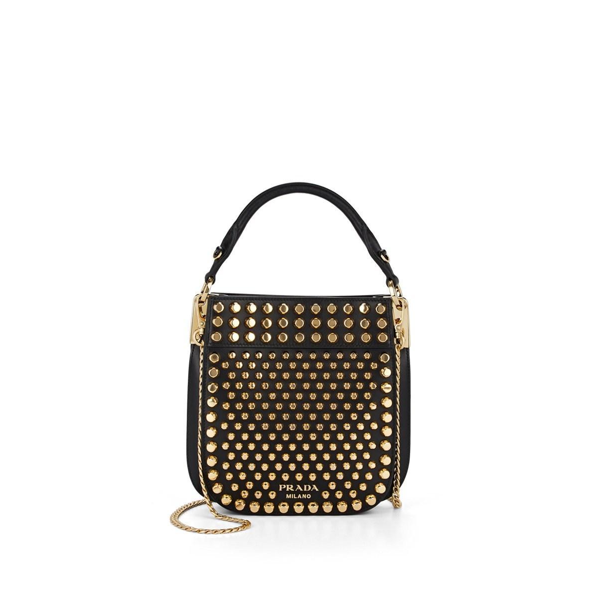 853c1c129193 Lyst - Prada Margit Small Studded Leather Shoulder Bag in Black
