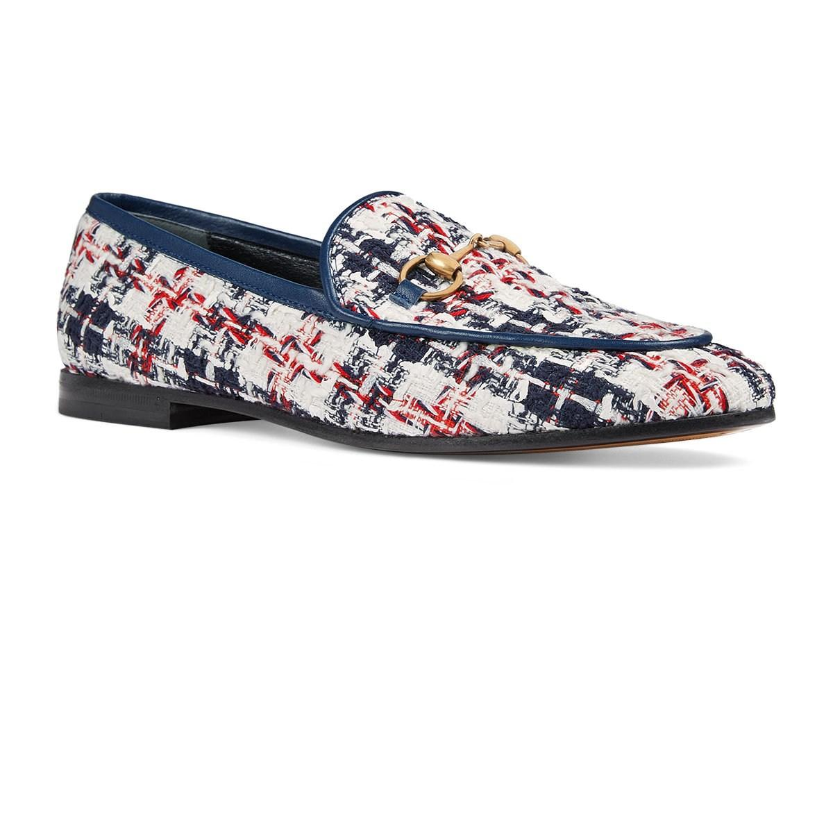 924994538ad Gucci Checked Tweed Loafers in White - Lyst