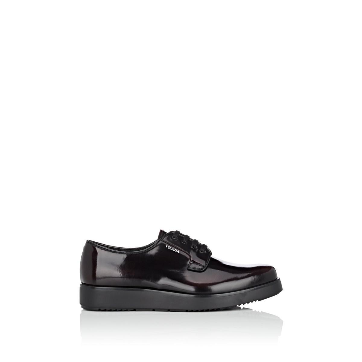 2e323e08558 Prada - Black Spazzolato Leather Platform Bluchers for Men - Lyst. View  fullscreen