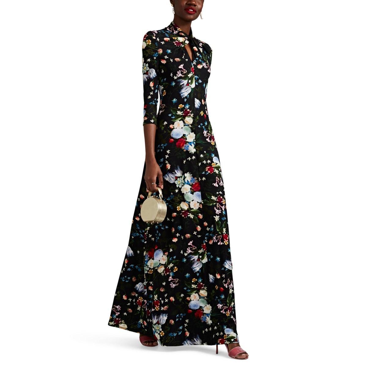 Nia Jersey Black Lyst Gown In Erdem Floral qTxnx8U