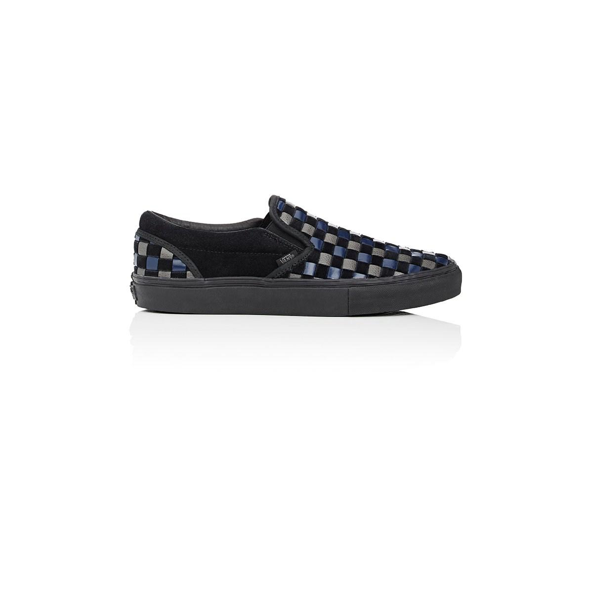sports shoes f176c 455fe Lyst - Vans Woven Leather  Suede Slip-on Sneakers in Black f