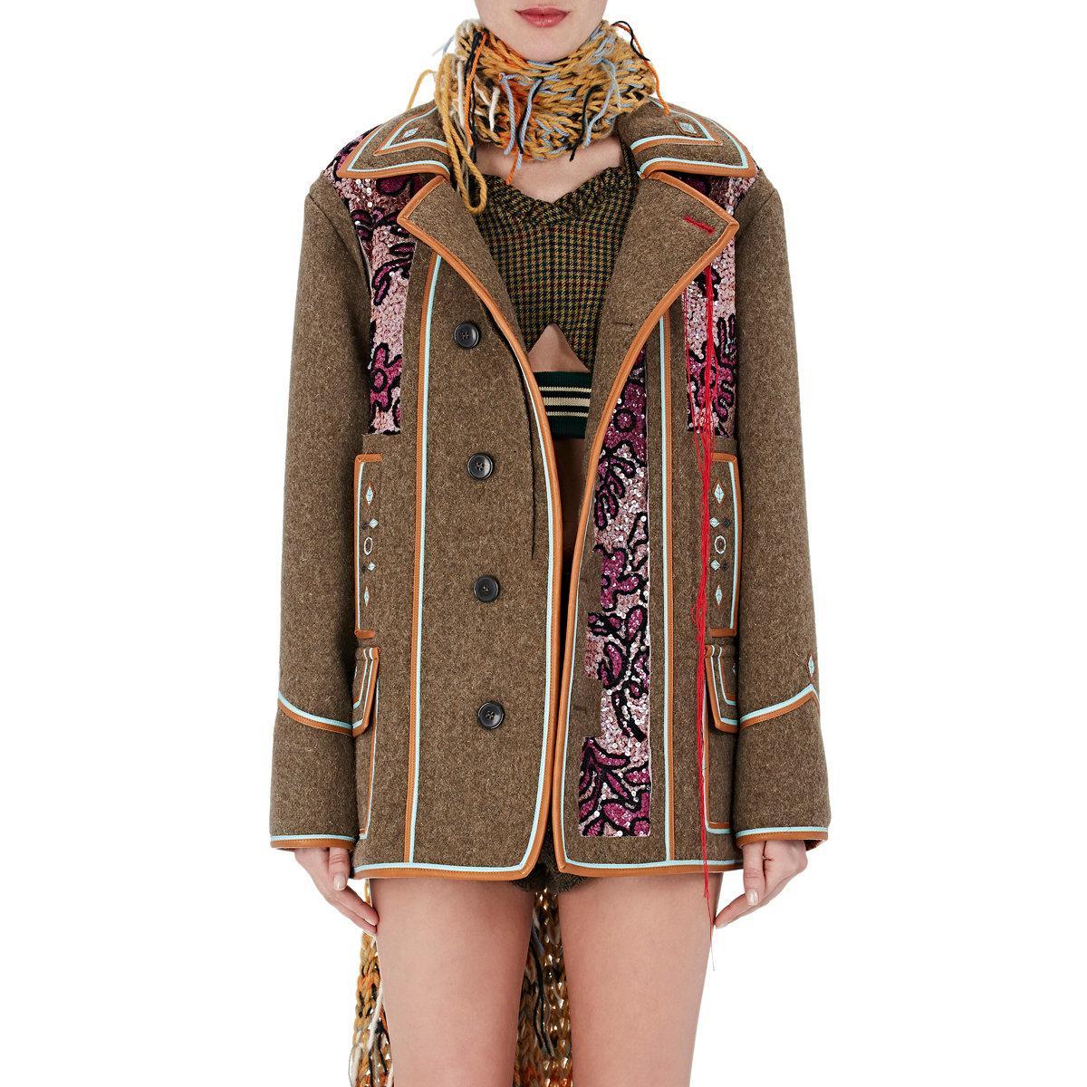 e2315d7e290 Lyst - Maison Margiela Sequined Wool Melton Coat in Green