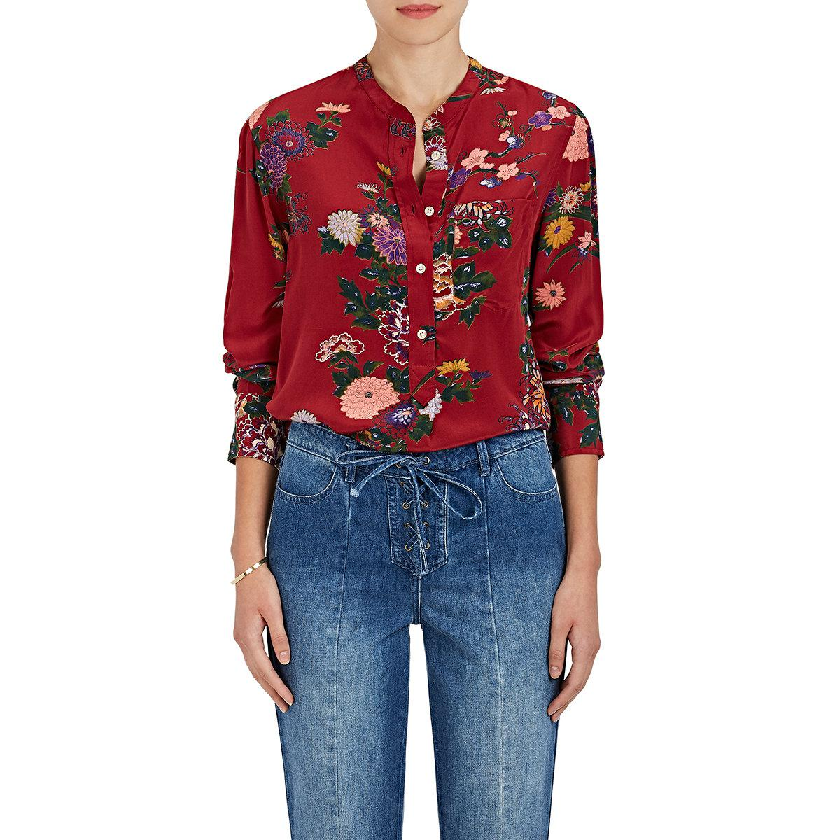 e17f0f5a1b1 Isabel Marant Rusak Floral Silk Tunic Blouse in Red - Lyst