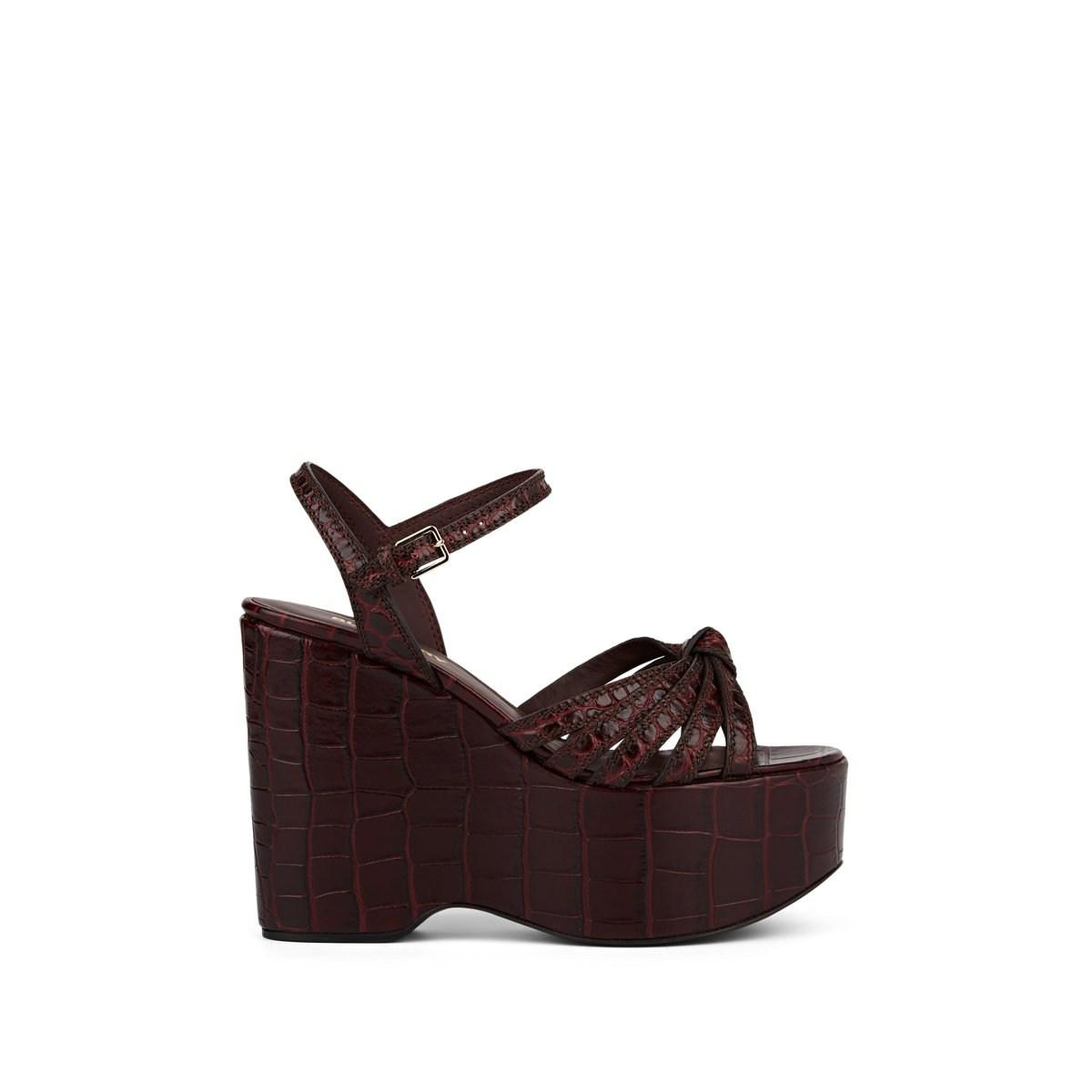 2e6b112d9e43 Lyst - Burberry Margate Stamped Leather Platform-wedge Sandals in Brown