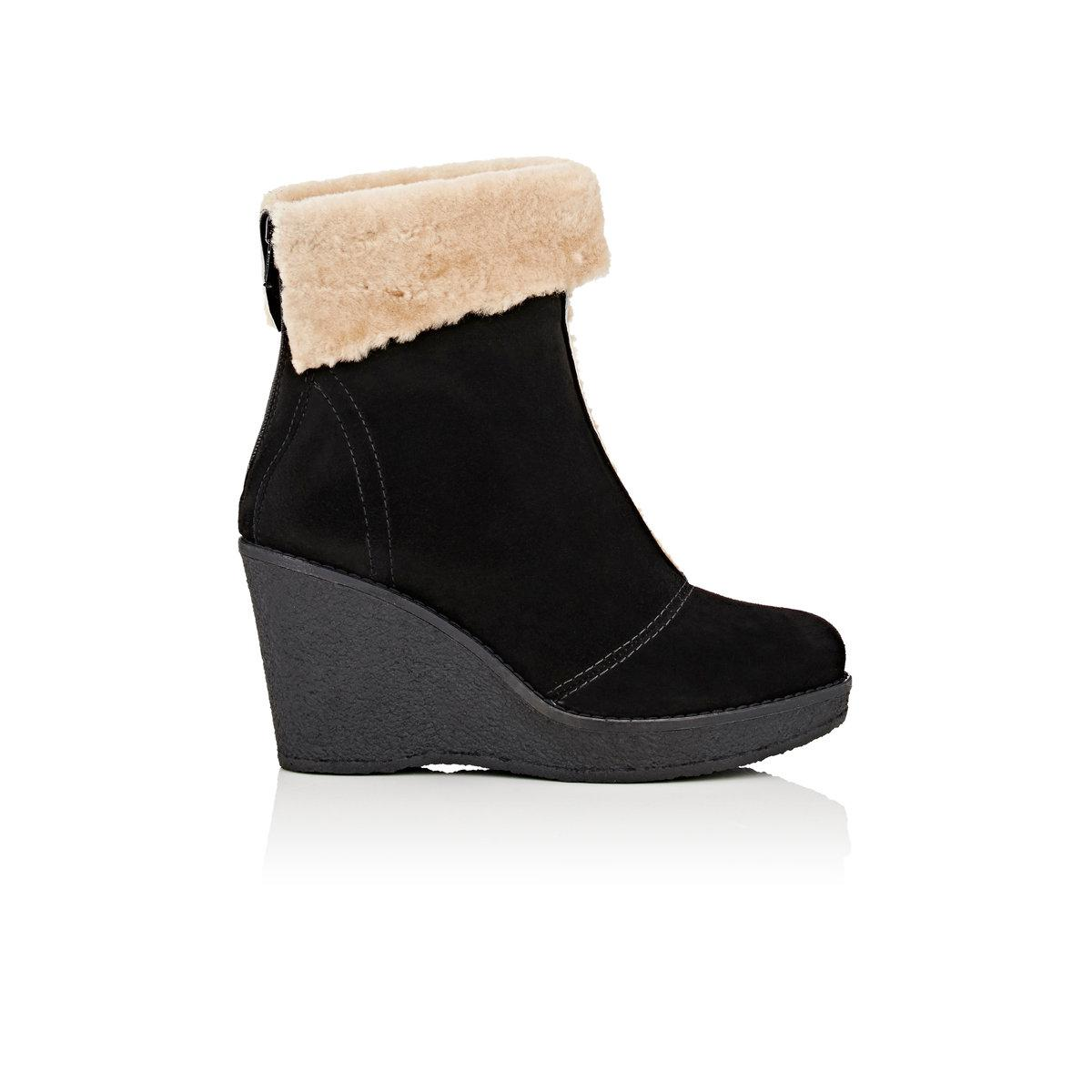 free shipping discount cost cheap price Mr & Mrs Italy Suede & Shearling Wedge Ankle Boots fake for sale sale fashionable under $60 sale online INDz3Ijk