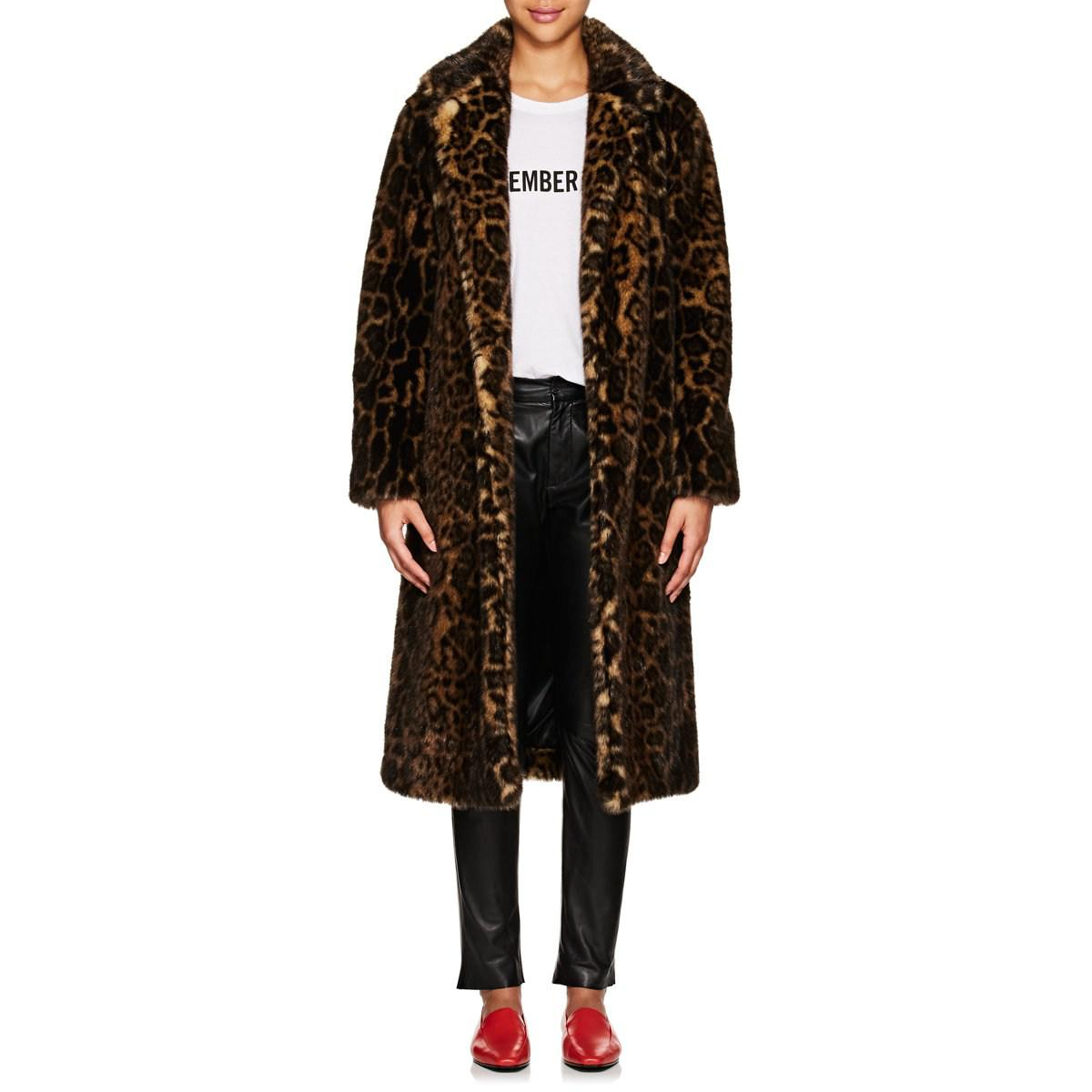 65a7c22c8631 Nili Lotan Marvin Leopard-print Faux-fur Long Coat in Black - Lyst