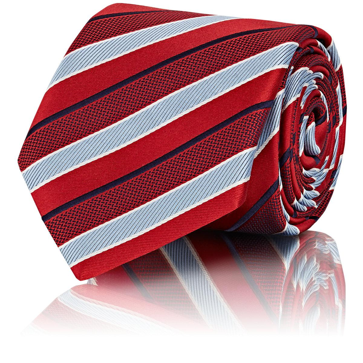 Mens Striped Silk Repp Necktie Brioni rUJUxxM