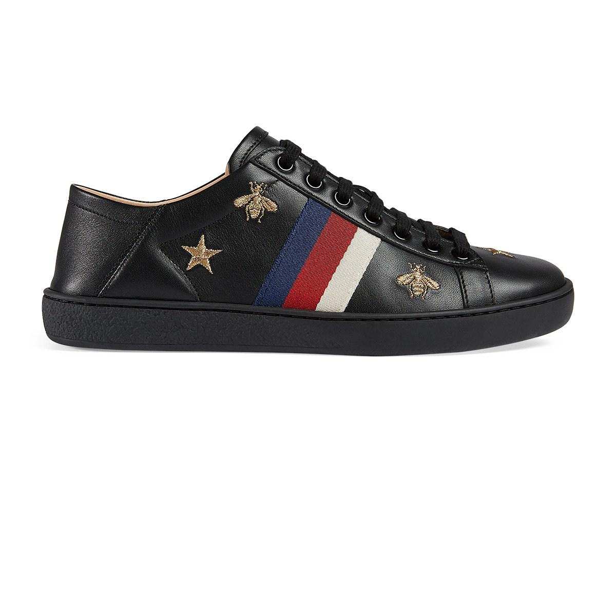 eadfd82bd0a Lyst - Gucci New Ace Embroidered Leather Sneakers in Black