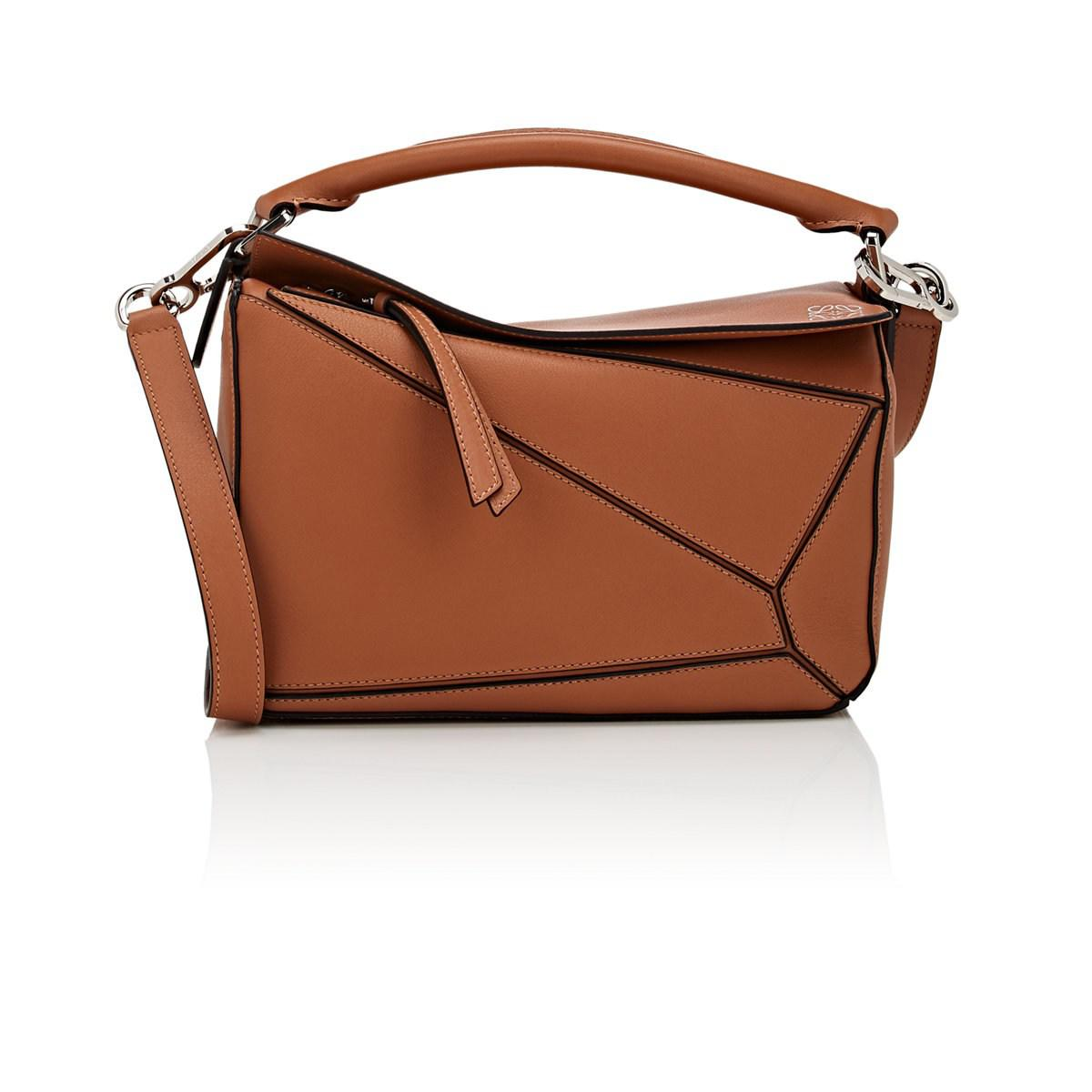 93a4a4a643e8 Loewe Puzzle Small Leather Shoulder Bag in Brown - Lyst