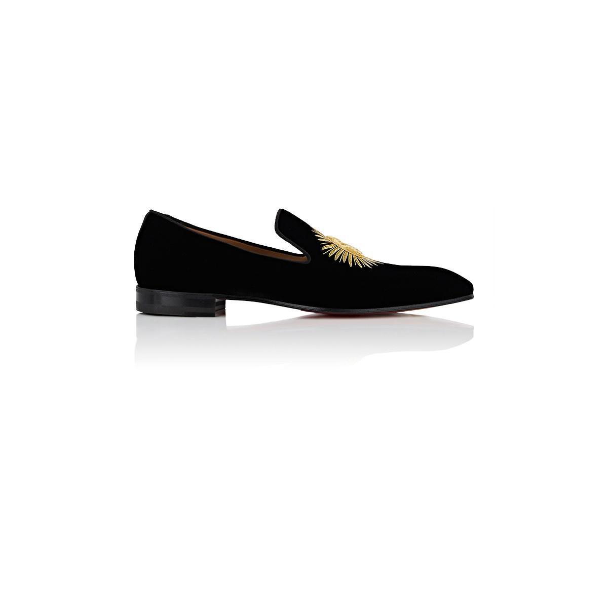479f4022cfae Christian Louboutin Morning Dandelion Velvet Slippers in Black for ...