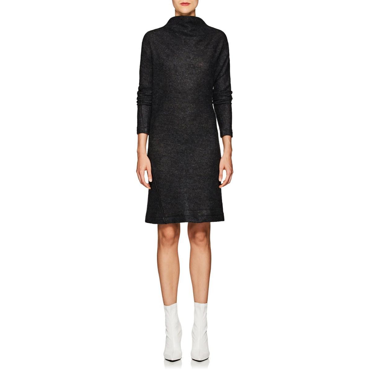 e3f639d51ac Helmut Lang Wool-blend Asymmetric Sweaterdress in Black - Lyst