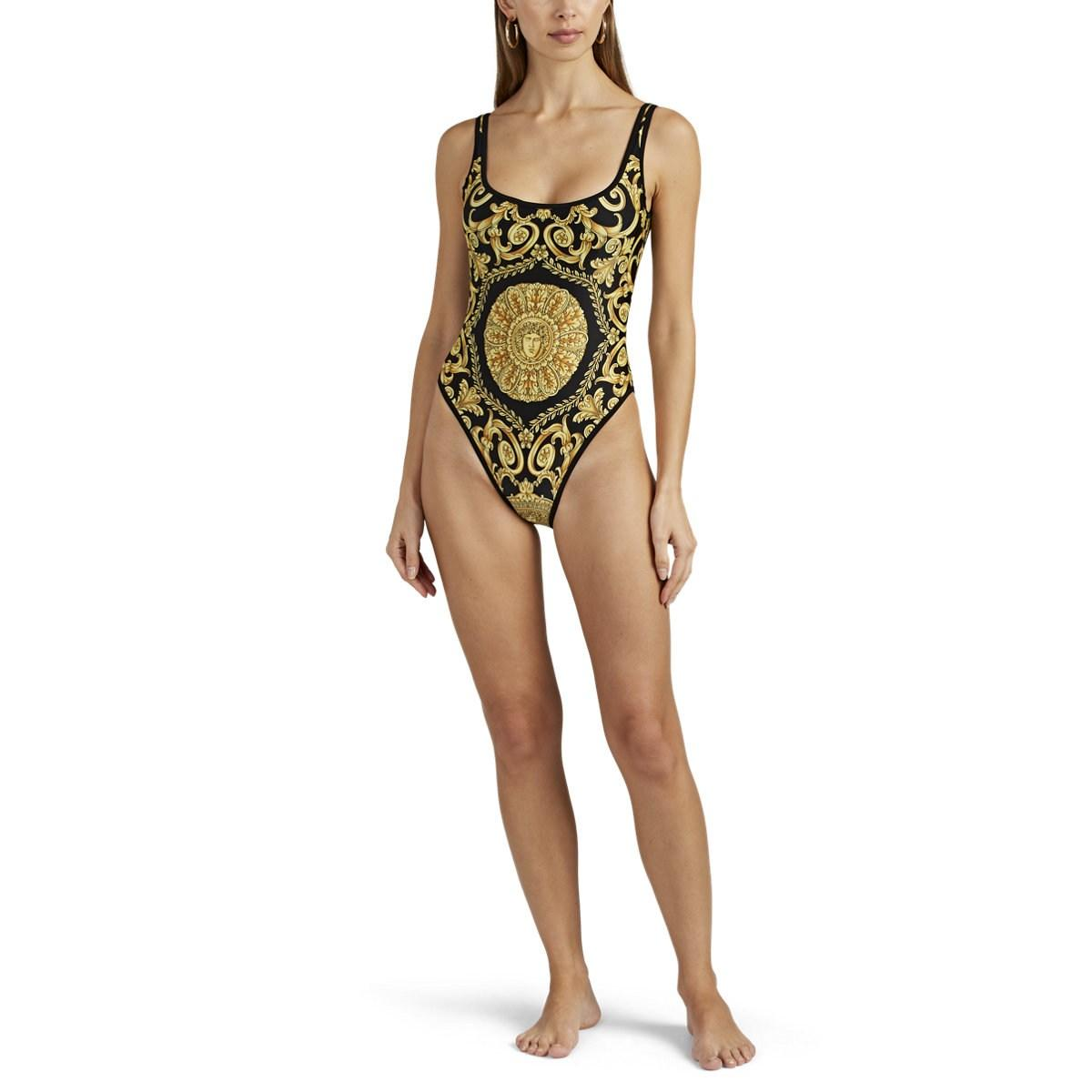 352eea23cbff9 Versace - Black Baroque-print One-piece Swimsuit - Lyst. View fullscreen