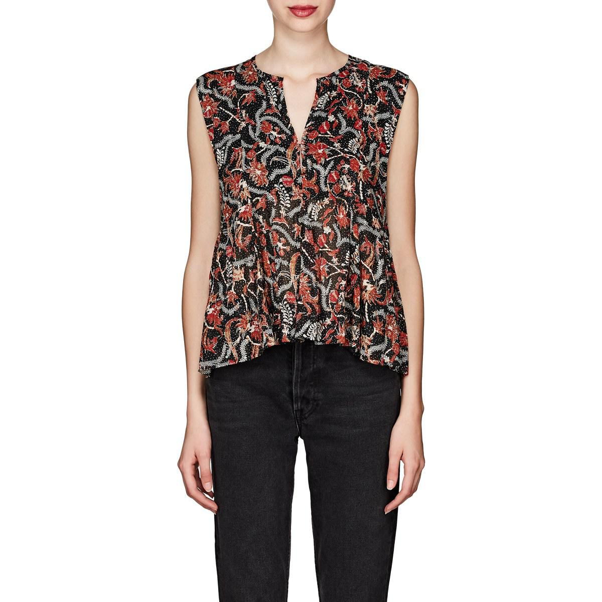 008a51cea94b20 Lyst - Étoile Isabel Marant Erney Floral Cotton Peplum Top in Blue