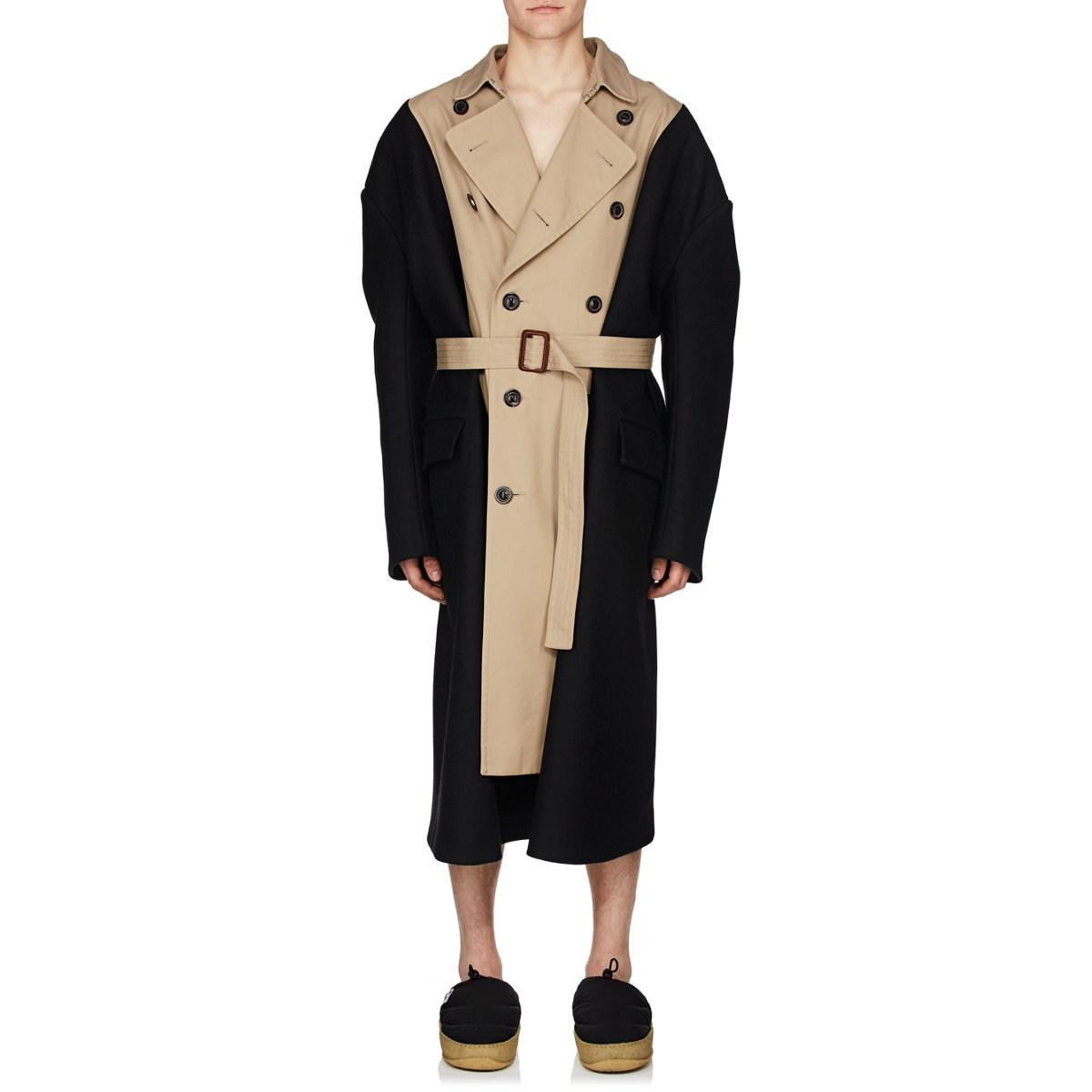ce25e3cf720 Lyst - Maison Margiela Gabardine   Wool Melton Oversized Trench Coat ...
