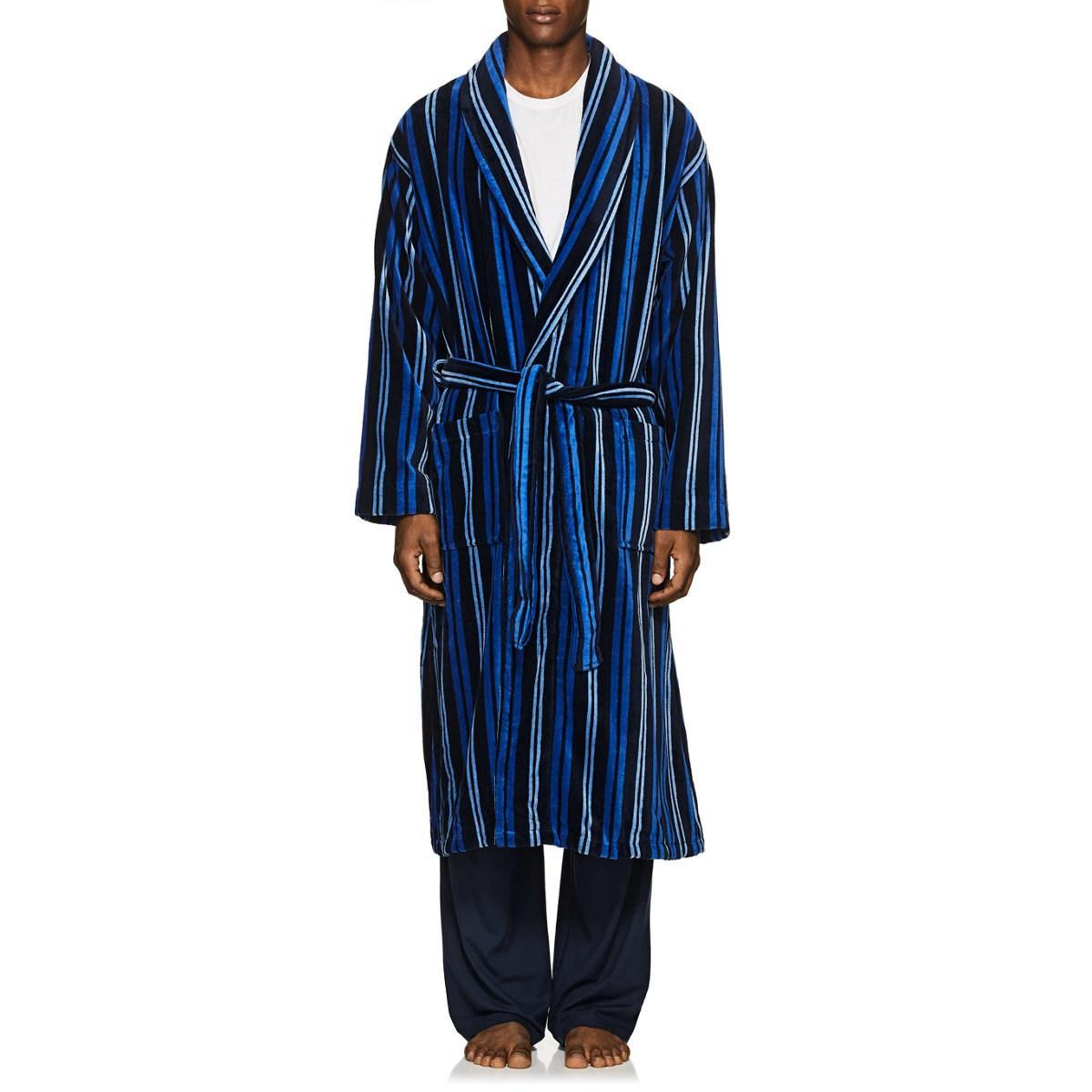 40c5c7ce28 Lyst - Derek Rose Aston Striped Cotton Velour Robe in Blue for Men