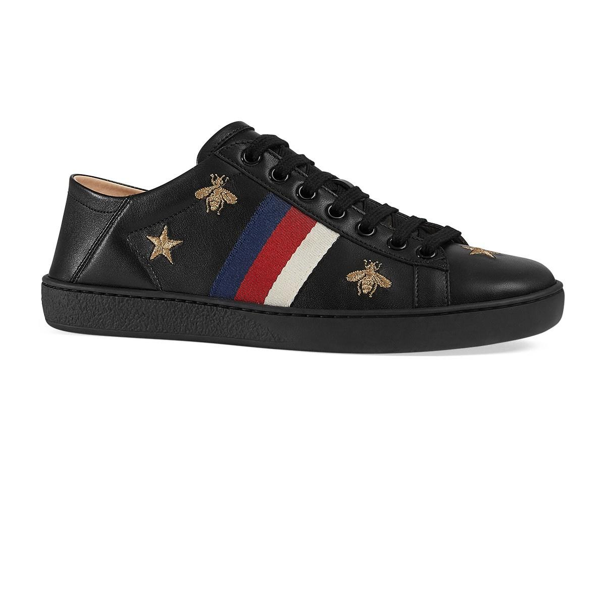 db785ca6f41 Gucci - Black New Ace Embroidered Leather Sneakers - Lyst. View fullscreen