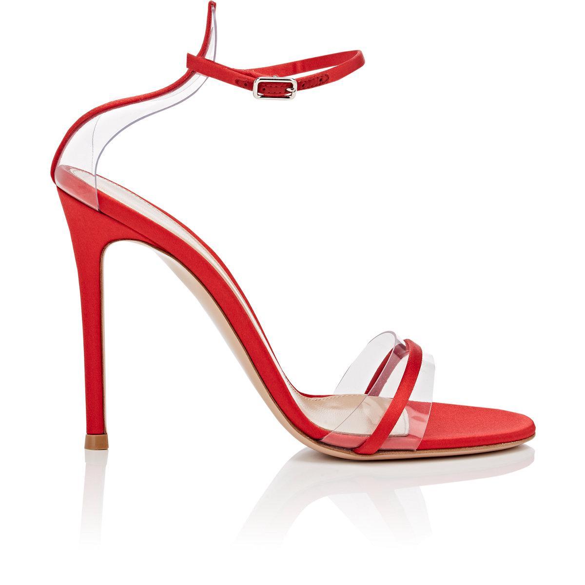 b4c808ffe Lyst - Gianvito Rossi G String Satin   Pvc Sandals in Red