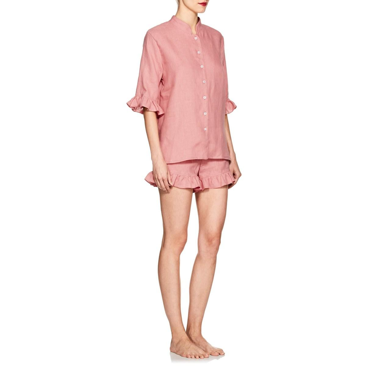 37f80637c Sleeper Ruffle Linen Pajama Set in Pink - Lyst