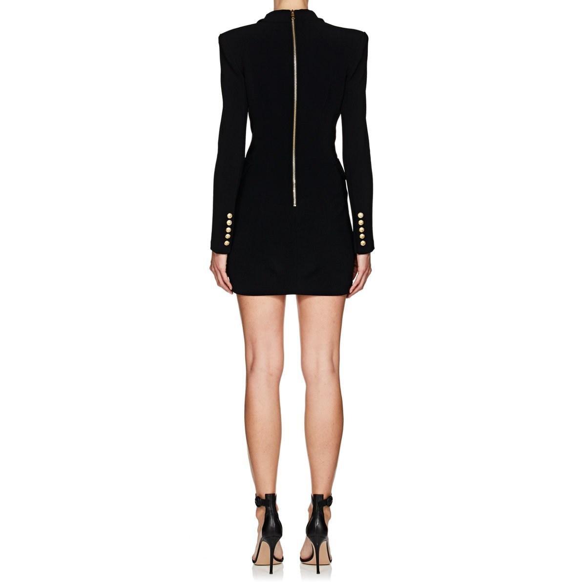 0334b8f4fc83 Balmain Tuxedo-inspired Crepe Dress in Black - Lyst