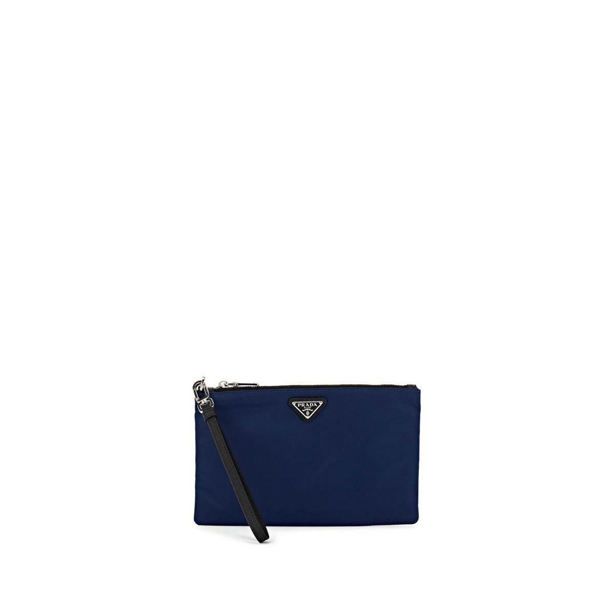 56830bfdf8b5 Lyst - Prada Logo Plaque Pouch in Blue for Men