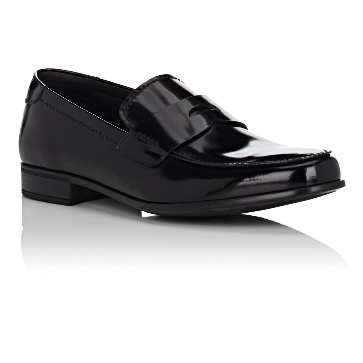 39dfaaf8a6f Prada Spazzolato Leather Penny Loafers in Black for Men - Save ...