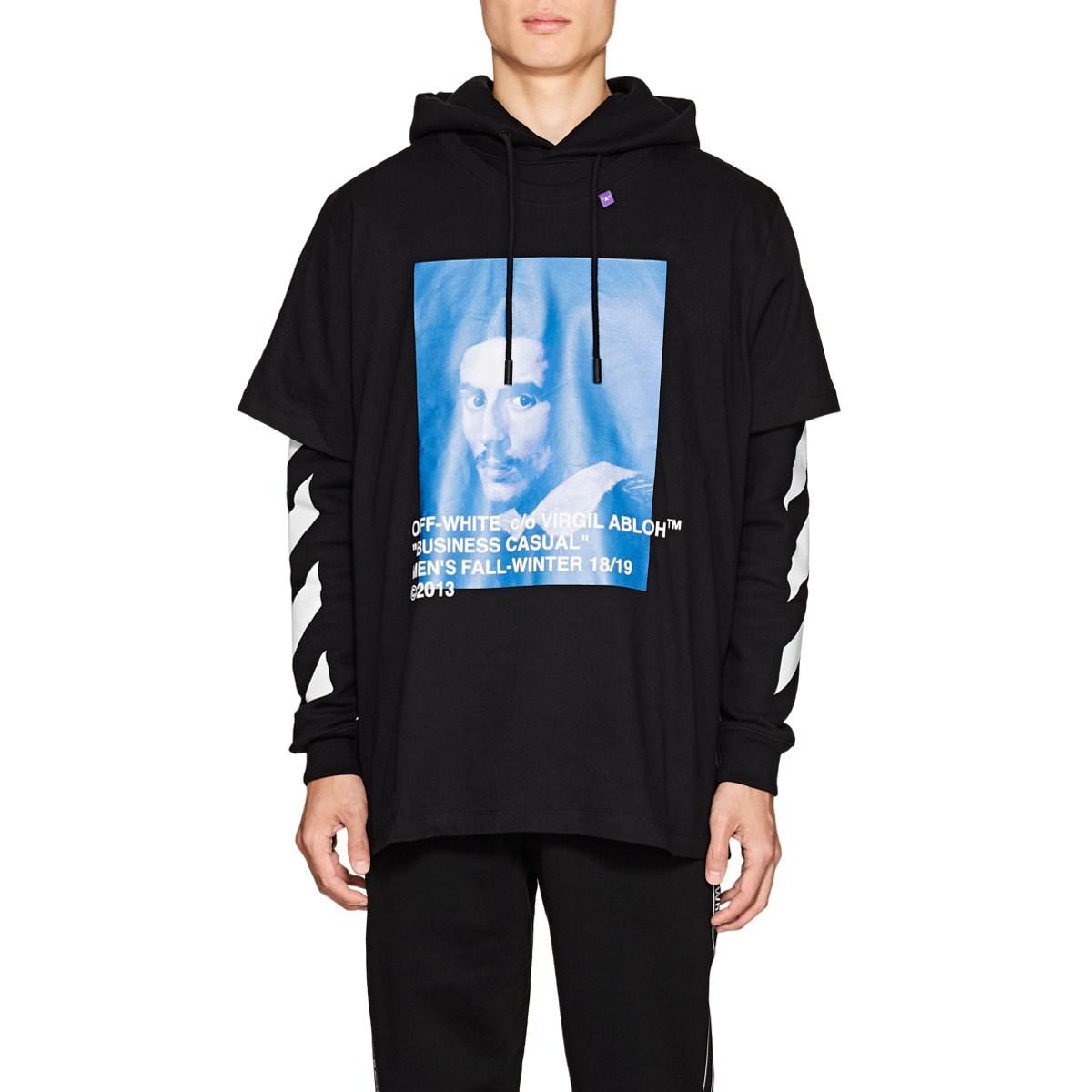 Off-White c o Virgil Abloh Bernini Layered Cotton Hoodie in Black ... 4347361b7