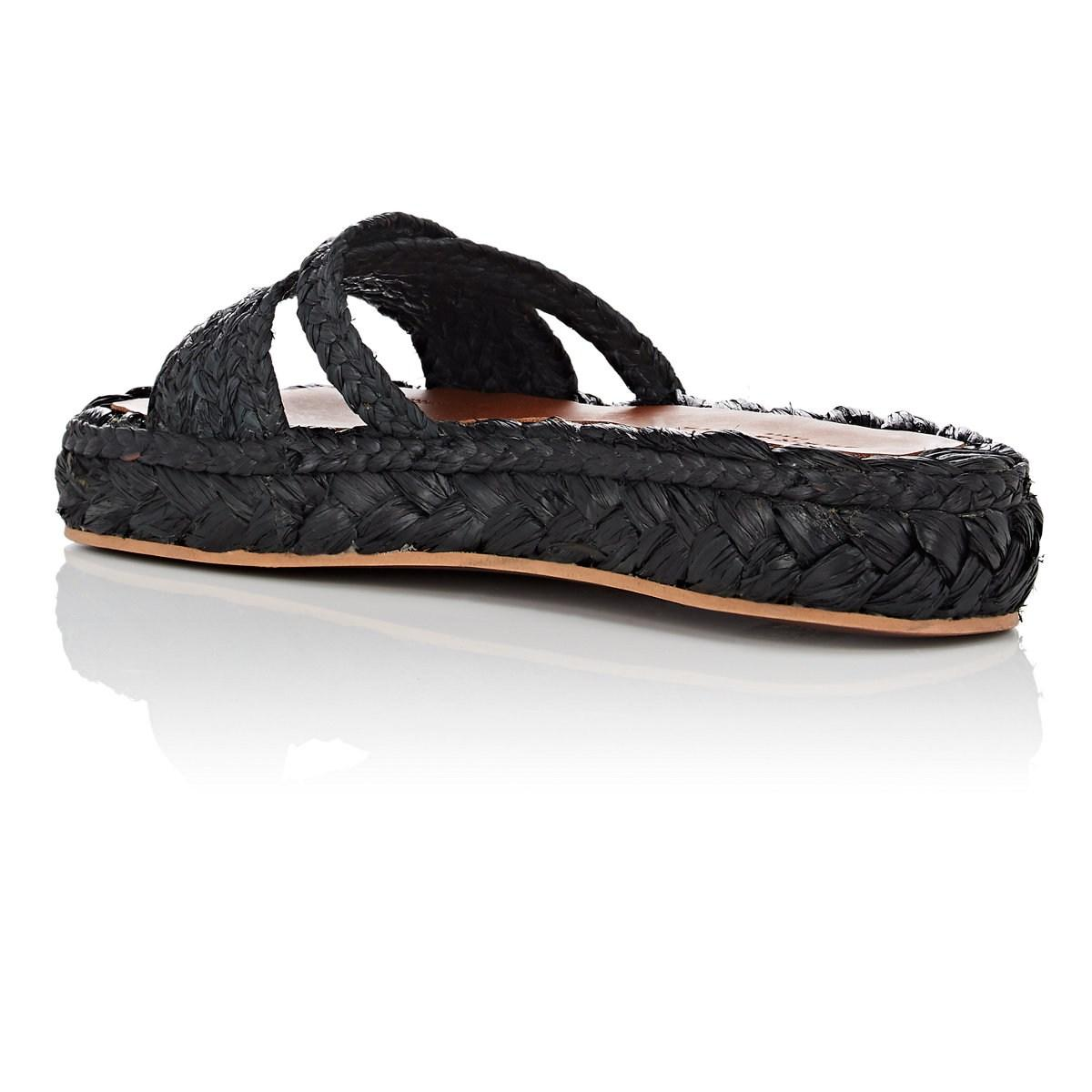 04744d106f4 Clergerie - Black Idalie Raffia Sandals - Lyst. View fullscreen