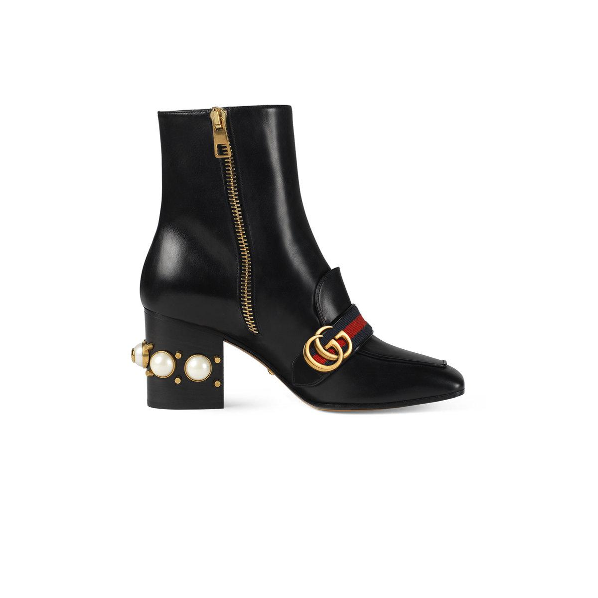 47508ebfc39 Lyst - Gucci Leather Mid-heel Ankle Boot in Black