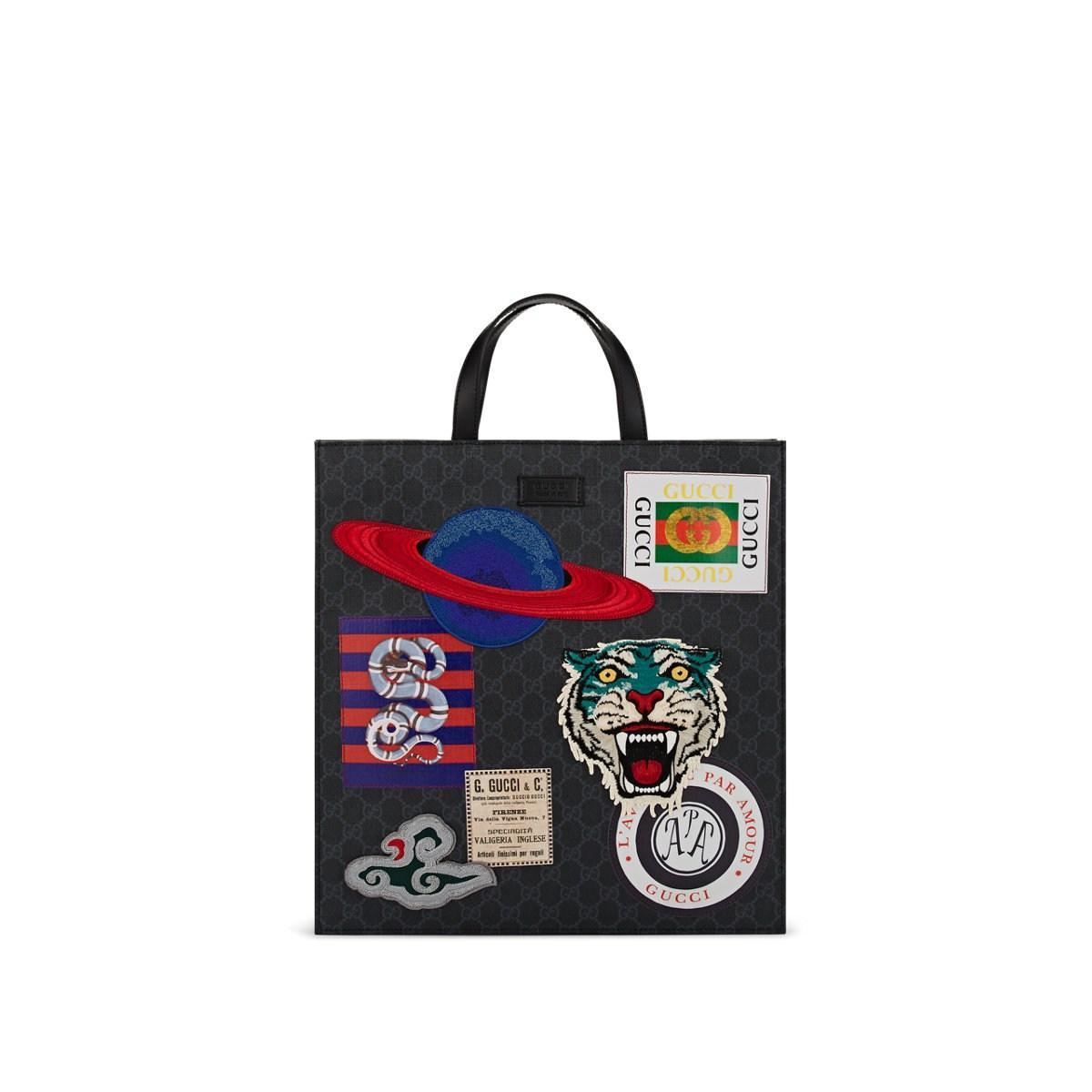 fd73a6f756f Gucci - Black Appliquéd GG Supreme Canvas Shopper Tote Bag for Men - Lyst.  View fullscreen