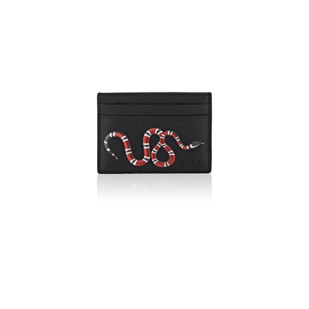 de4deba71ece Gucci Kingsnake Card Case in Black for Men - Lyst