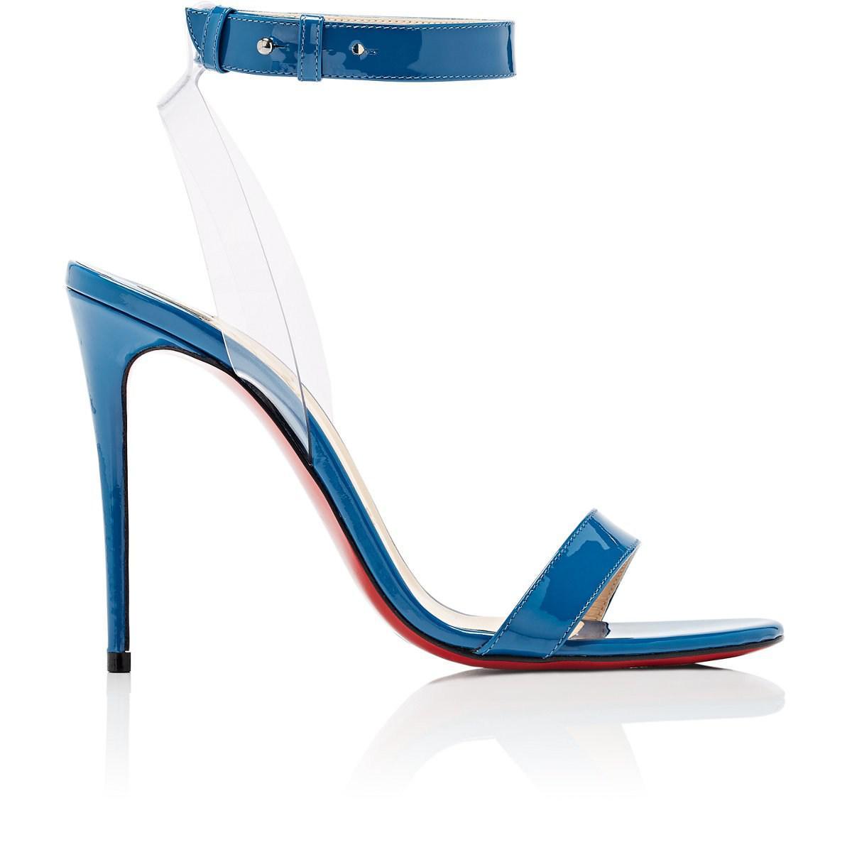 2aa25a6f7066 ... netherlands christian louboutin. womens blue jonatina patent leather  pvc sandals eb5e6 f16b9